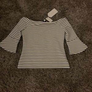 high line black and white striped blouse